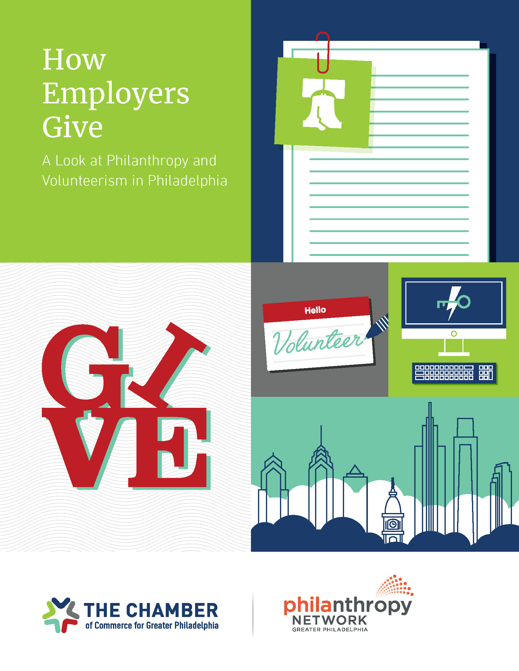 """Report cover: """"How Employers Give: A Look at Philanthropy and Volunteerism in Philadelphia"""""""